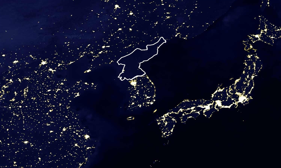 Dark North Korea Outlined from Space
